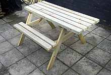 Standard Picnic Bench With Overhang For A Wheelchair