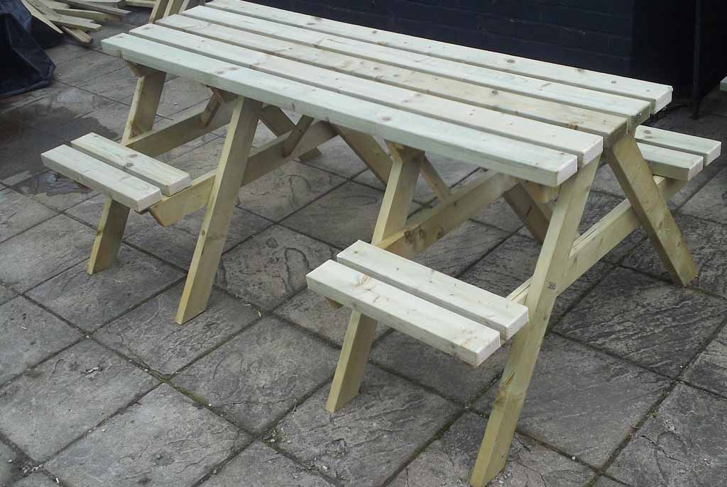 Large Picnic Bench With Spaces For Wheelchairs - Wheelchair picnic table