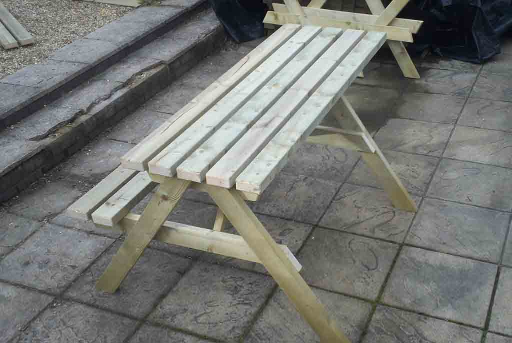 Standard Picnic Bench With 1 Space For A Wheelchair & Overhang For Another