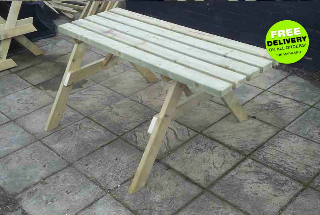 Standard Picnic Bench With 2 Spaces For 2 Wheelchairs & Overhang For Another