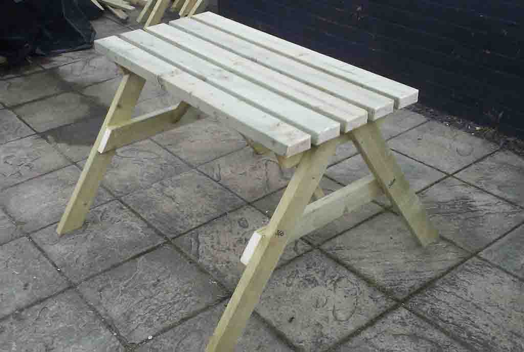 Small Picnic Bench With 2 Spaces For 2 Wheelchair